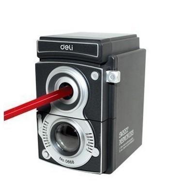 Pencil Sharpener Hand Crank Manual Desktop School Stationery Kids Camera Design Free Shipping(China (Mainland))