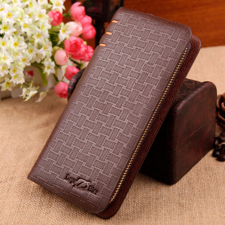 2015 New Casual Plaid Brown Business High Quality Zipper Long Leather Men Wallets Purse Male Clutch Lattice Hand Bag Wholesale(China (Mainland))
