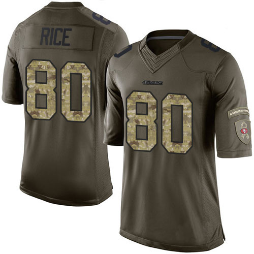 Men's #80 Jerry Rice Elite Green Salute to Service Football Jersey 100% Stitched(China (Mainland))