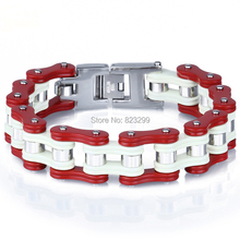Fine not fade red gold men's bicycle stainless steel bracelet (length: 22.5cm, width: 17mm weight: 126G)