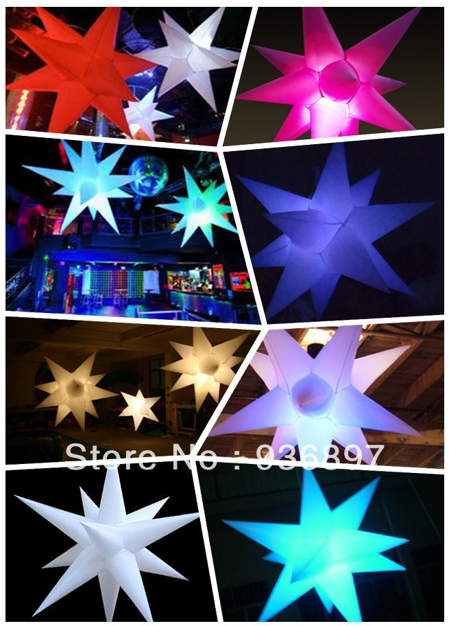 Free shipping 16 colors-changing inflatable star with LED light in, can controled by remote control, lowest price for sale(China (Mainland))