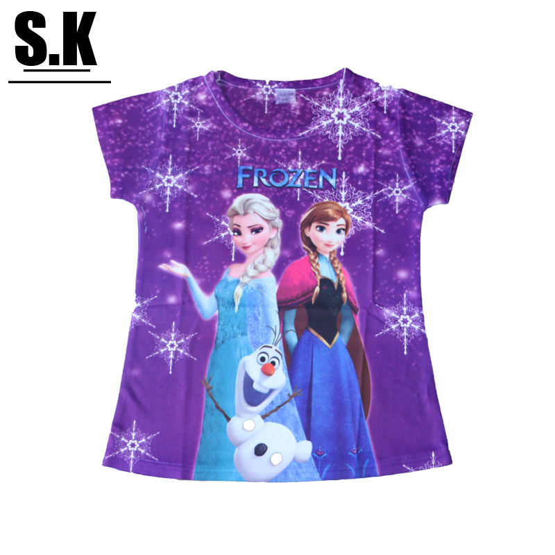 SK,Size 2-5T Girls Clothing 2016 Summer Polyester Elsa Girls T-shirts Fashion Girls Clothes Top Tees for Girls Kids T shirts(China (Mainland))