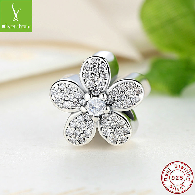 2016 New Fashion 925 Sterling Silver Dazzling Daisy Charm Fit pandora Bracelet Pendant Authentic Jewelry Gift(China (Mainland))