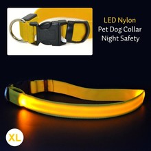 Colorful LED Nylon Pet Dog Collar Night Safety LED Light-up Flashing Glow In The Dark Electric LED Pets Cat & Dog Collar S-XL(China (Mainland))