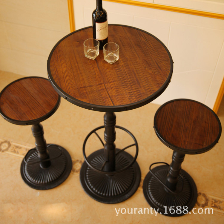 Excellent natural home of American retro to do the old wrought iron coffee table Creative tall circular wood casual cafe tables(China (Mainland))