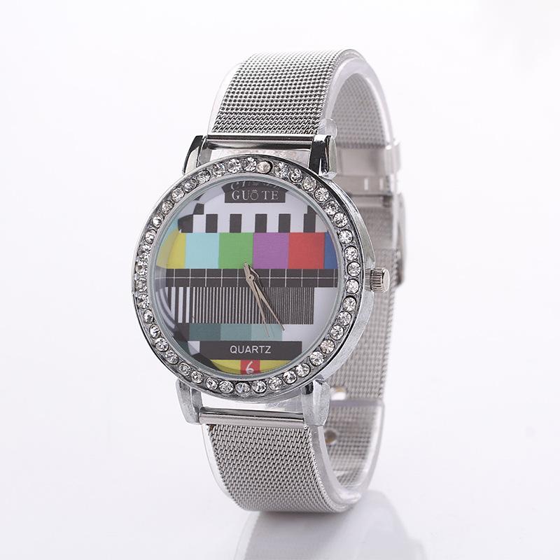 Guote Brand Stainless Steel Mesh Belt Silver Women Geneva Watch Fashion Wrist Watch Quartz Watch Reloj Mujer Relogio Feminino(China (Mainland))