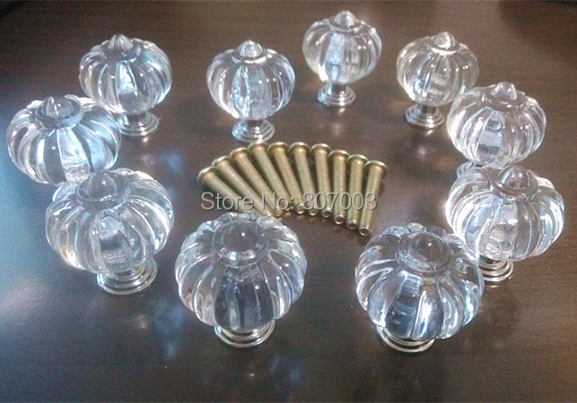 100pcs/lot  27mm Transparent Acrylic Knob Drawer Cabinet Cupboard Door Handle Hardware<br><br>Aliexpress