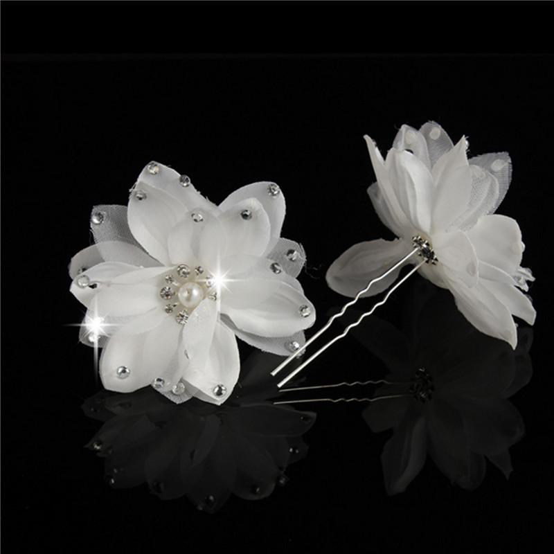 2pcs/lot Fashion Wedding Bridal Crystal Faux Pearl Flower Hairpin Hair Clip Bridesmaid Wedding Favors Event Party Decor Supplies(China (Mainland))
