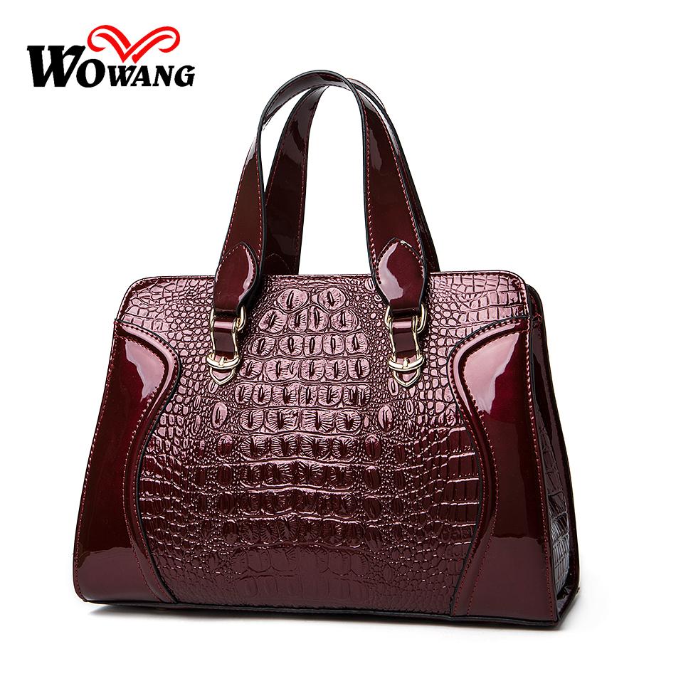 2016 Women Leather Handbags Crocodile Pattern shoulder bag Famous Designer Brand Luxury Women messenger bag Tote Top-Handle Bags(China (Mainland))