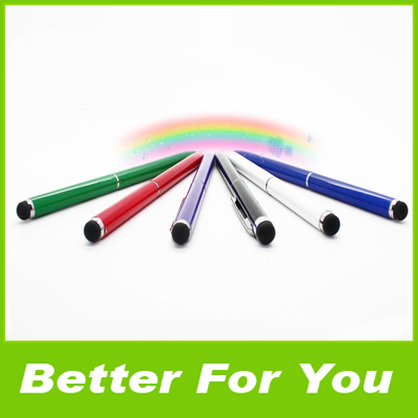 500pcs/l Metal Capacitive Stylus 2 in1 Universal Touch Pen For iPhone 5S Galaxy I9500 iPad 4 DHL(China (Mainland))