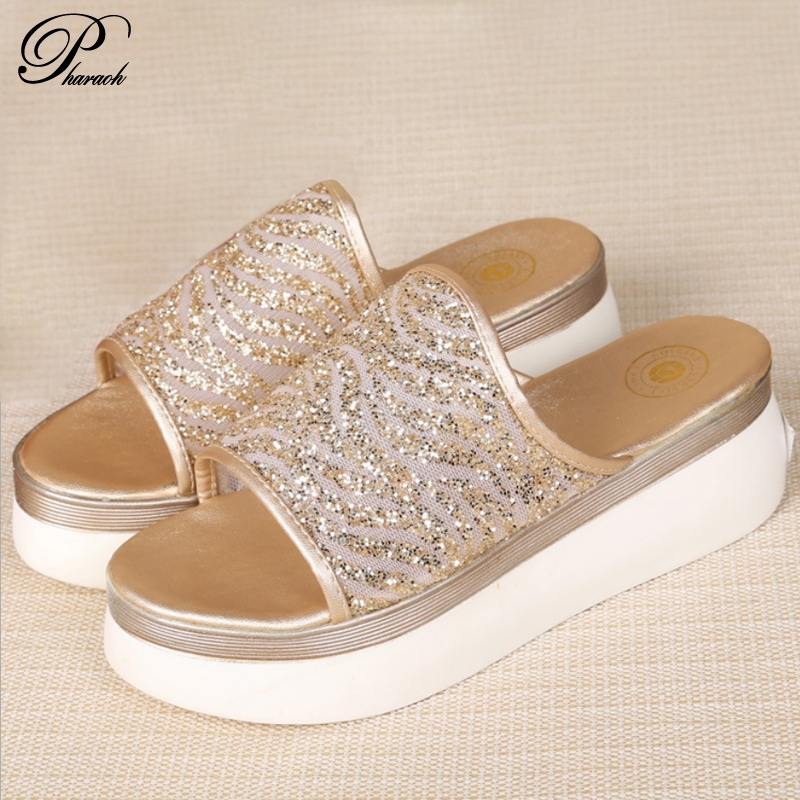 Elegant platform wedges slides flip flops summer shoes woman(China (Mainland))