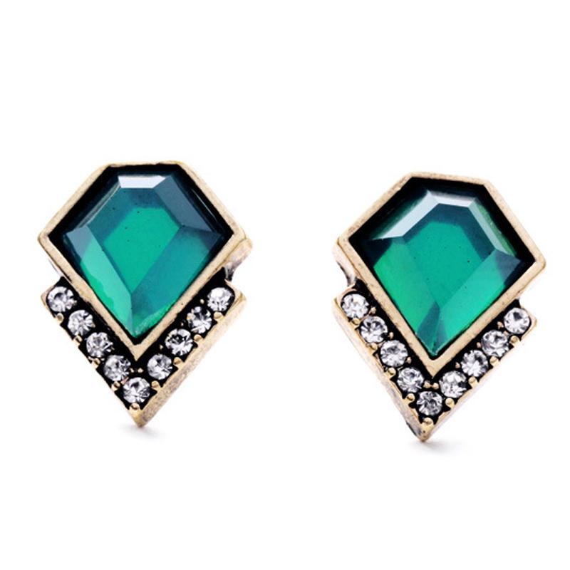 Ms Fashion Vintage Brand Classic Emerald Geometric Crystal Stud Earrings Zinc Alloy Trendy Earring Accessories brinco FHC0165<br><br>Aliexpress
