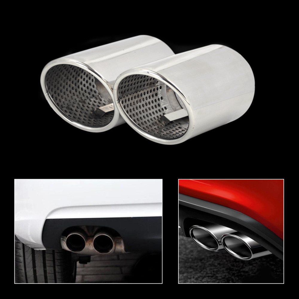 2X Chrome STAINLESS STEEL TAIL REAR EXHAUST MUFFLER PIPE For Audi A5 2door Coupe 2.0 2008 2009 2010 2011 2012 2013 2014 CA01907(China (Mainland))