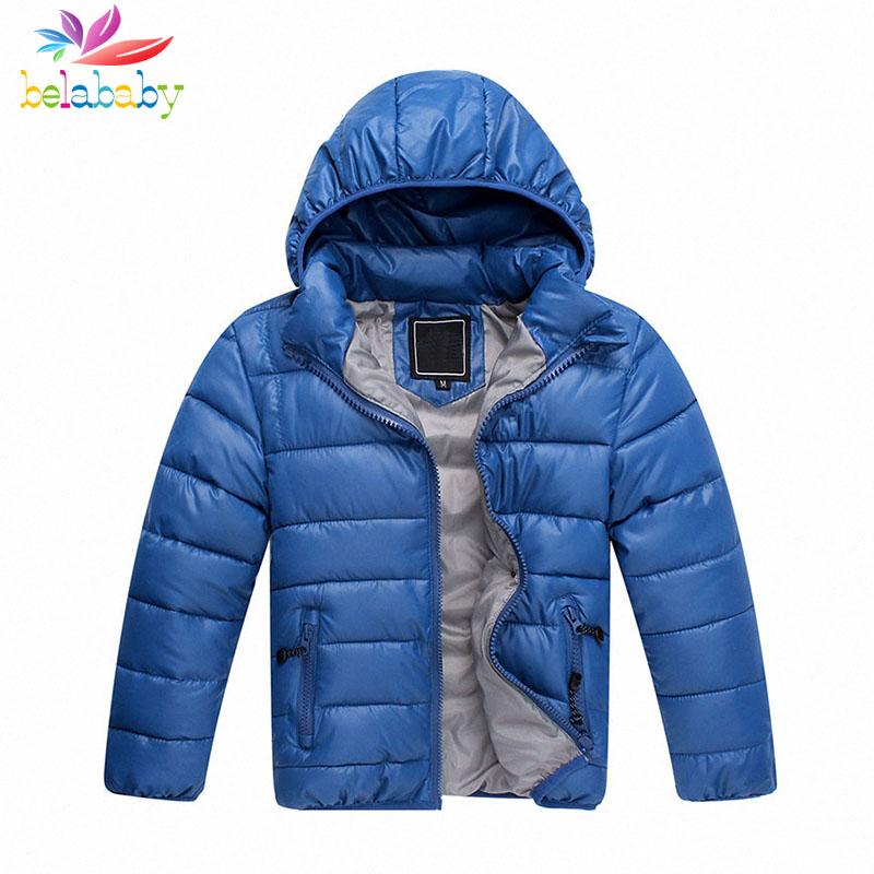 Belababy 2-11Y Boys Winter Brand Down Jackets New Fashion Kids Warm Hooded Coats Children Thicken Outwear(China (Mainland))