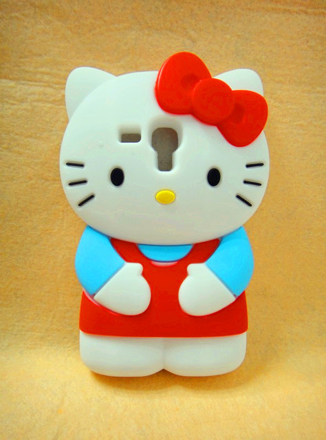 Hot!!! 3D hello kitty Silicone Back Cover Case for Samsung Galaxy S3 Mini i8190 High Quality Cell Phone Case