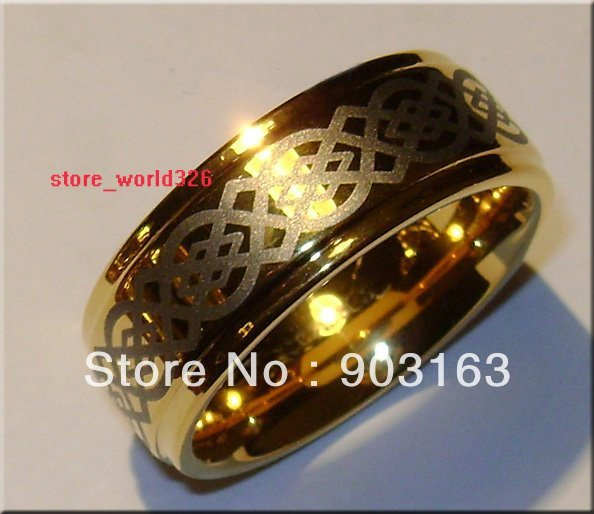 1pcs Best selling New Arrival Guaranteed 100% 9MM Tungsten Carbide 18K gold Wedding Band Ring by EMS shipping