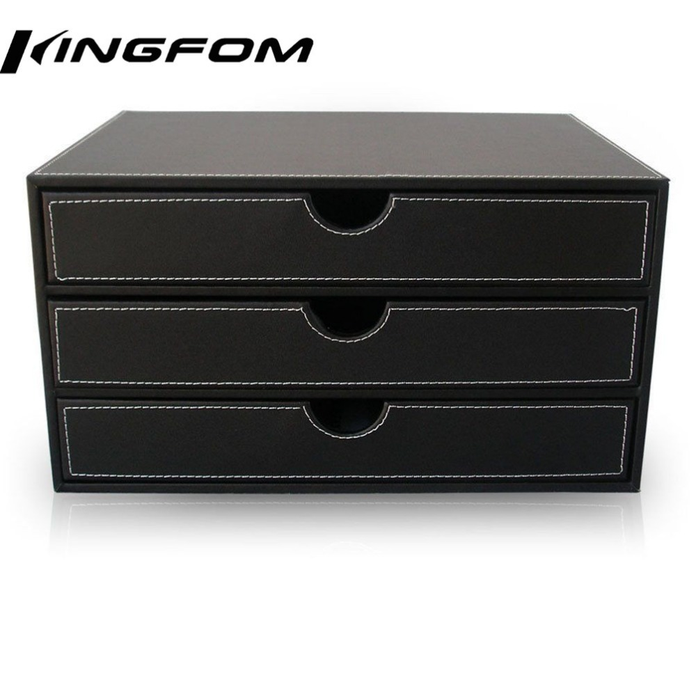 3 drawer 3 layer leather desk filing cabinet file document - Black leather desk organizer ...