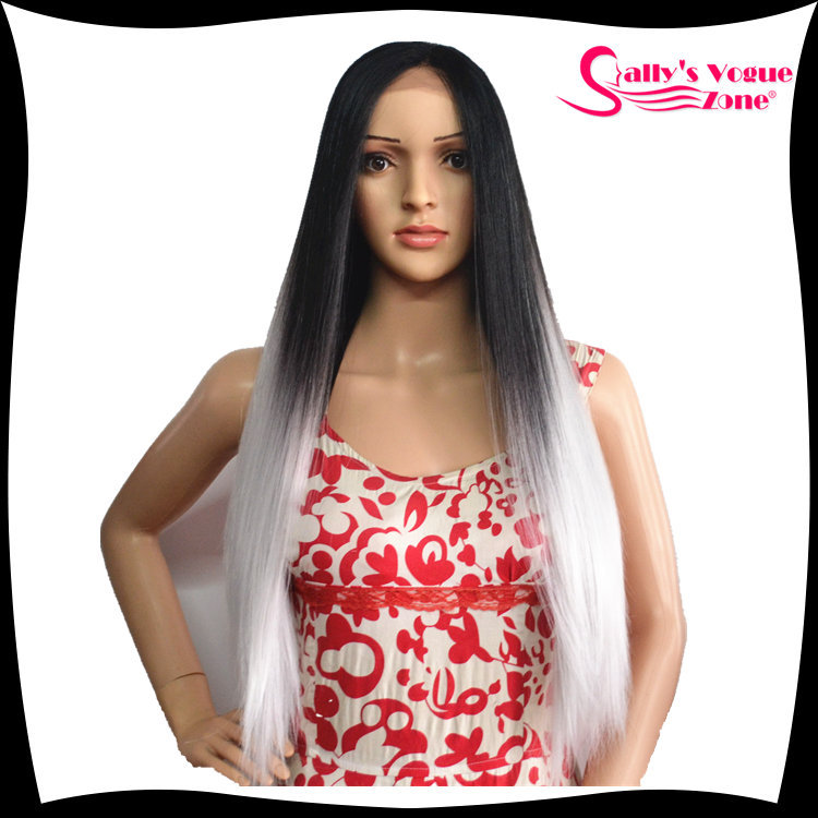 2015  Fasion Female Long Wigs Kanekalon Synthetic Cosplay Full Wigs Black+Silver Grey Ombre Color Heat-resisting Middle Bangs<br><br>Aliexpress