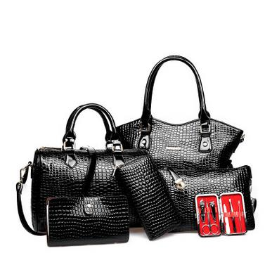 6pcs Women Composite Bag Women Bag Set Crocodile Leather Embossing Women's Bag Women Handbags Totes+Messenger Bag+Wallet Luxury(China (Mainland))