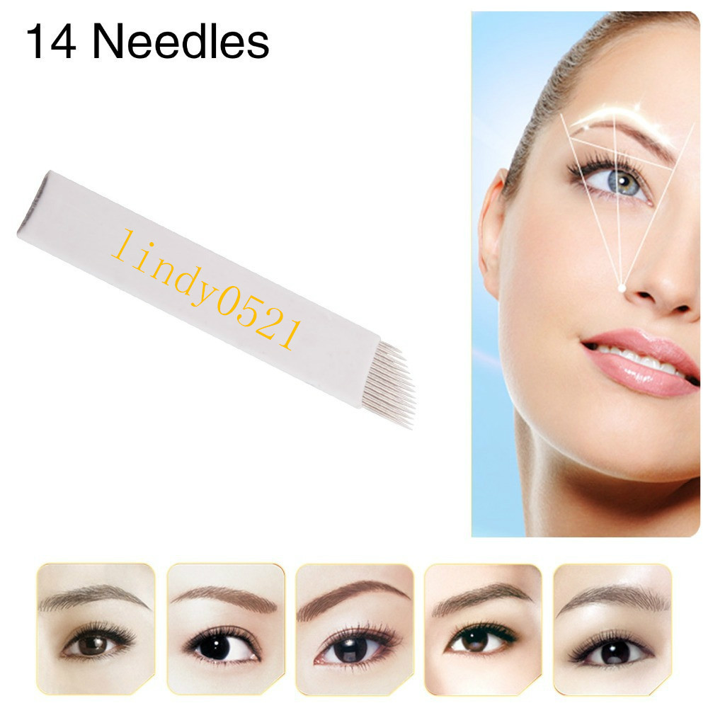 200pcs/lot  Fashion Permanent Eyebrow Makeup Tattoo Bevel Blades 14 Needles for Manual Tattoo Pen Free Shipping<br><br>Aliexpress