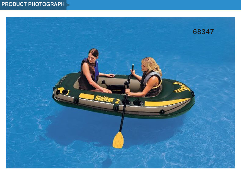Retail Intex Seahawk inflatable boat 2 person fishing boat 236*114*41cm, a pair of oars, hand pump included(China (Mainland))