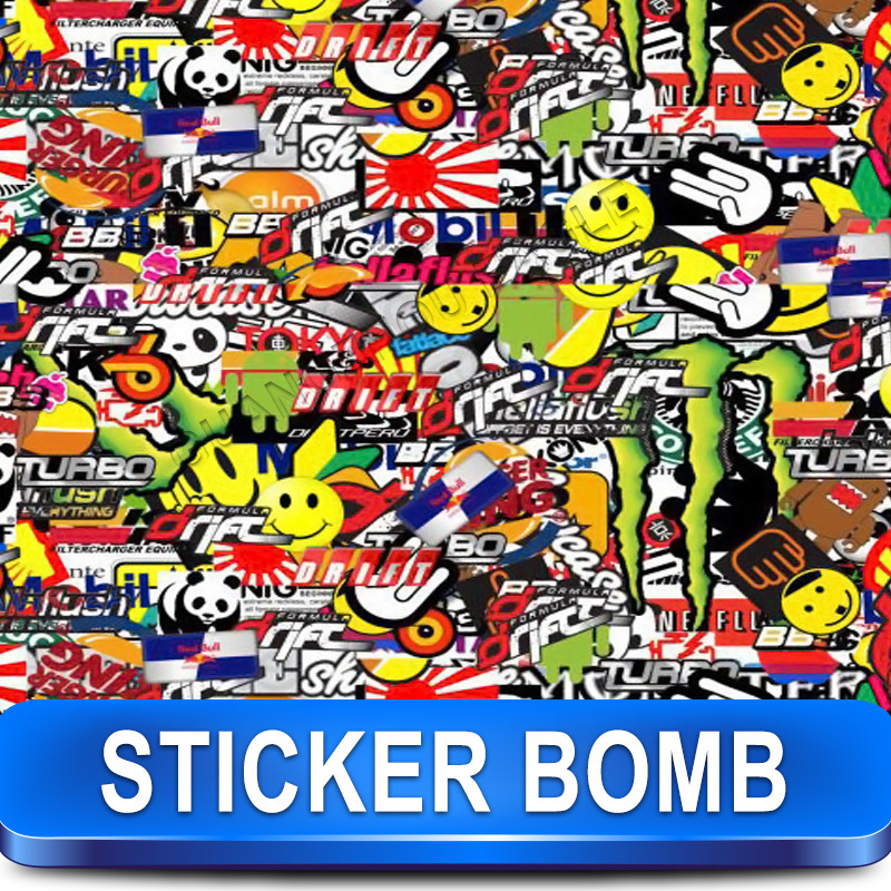 Stickerbomb Graffiti Print Design X24 Car Wrap / Colorful Car Sticker / Size: 1.52 x 30 Meter For Car Color Changing(China (Mainland))