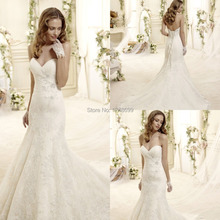New Fashion White Wedding Dresses Popular Sweetheart Coutr Train Sleeveless High Quality Lace Up Allique Lace Formal Bridal Gown(China (Mainland))