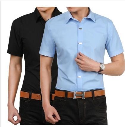 Новый 2016 мода мужская свободного покроя рубашка тонкой стильный с коротким рукавом ...