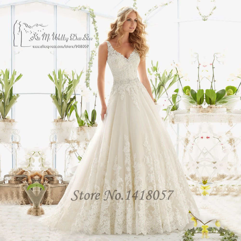 Ivory vintage princess wedding dresses lace beaded for Vintage beaded lace wedding dress
