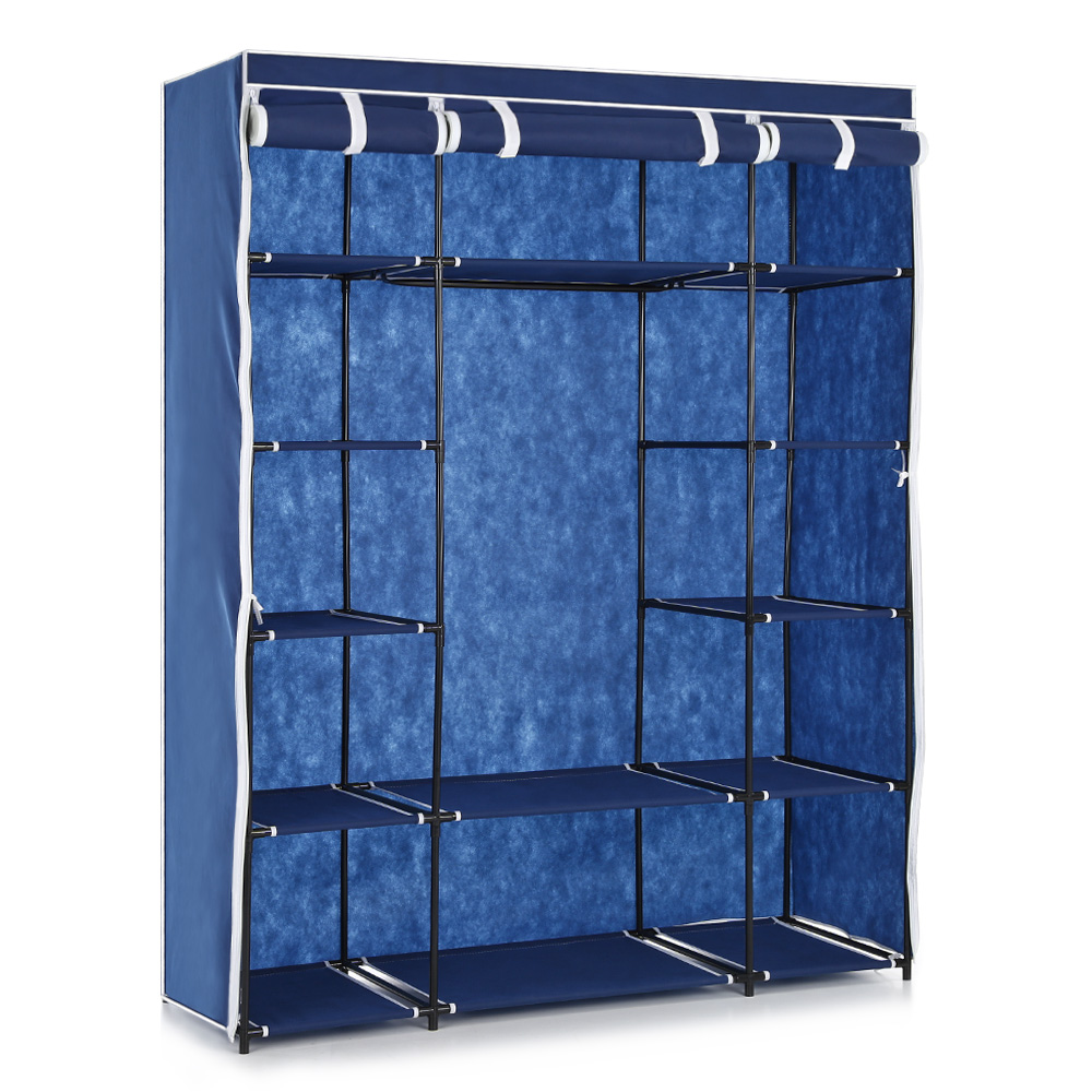 IKAYAA Cloth Wardrobe Storage Closet Wardrobe Clothing Hanger bedroom furniture Roll Up Wardrobe Cabinet Clothes Hanger Rack(China (Mainland))
