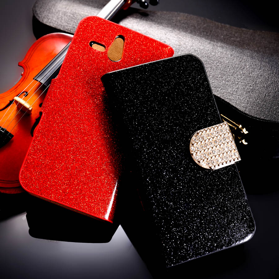 PU Leather Flip Case Bling Diamond Phone Case Cover Sony Xperia U ST25i 3.5 inch Wallet Phone Case Glitter Holster Housing