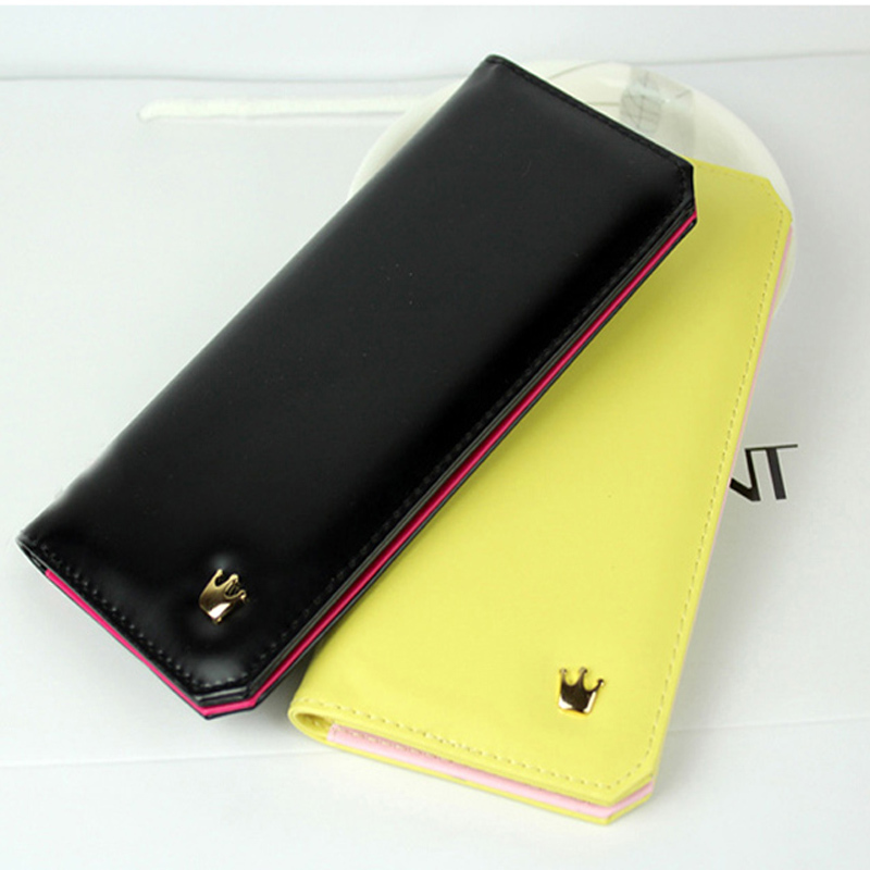 New Arrival Fashion Designer Ladies Wallets,16 pcs Credit Card Holder PU Leather Solid Women Slim Wallet Crown Cute Long Wallets<br><br>Aliexpress