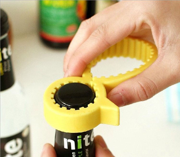 New Arrail Flexible Rubber One Touch Can Opener Multi Jars Bottle Opener(China (Mainland))