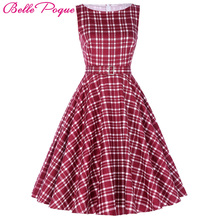 Buy Belle Poque Womens Vintage Plaid Party Dresses 2017 50s 60s Robe Femme Pin Retro Summer Clothes Women Rockabilly Clothing for $23.05 in AliExpress store