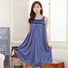 2016 Sexy Cozy Female Women Nightdress Summer Sleeveless Vest Silk Nightgown Sleepshirts Cool Vest Size Home Furnishing 05