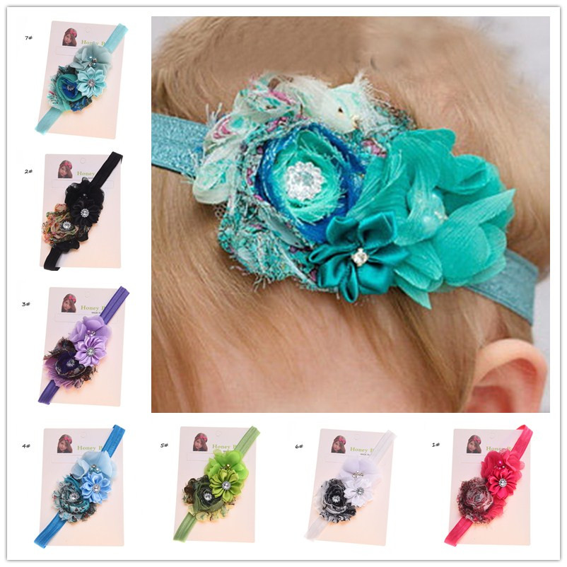 1pcs Shabby Chic Flower hair bows Vingate Hair Accessories Newborn Baby Hairbow Baptism Gift Photo Props Flower hairband(China (Mainland))