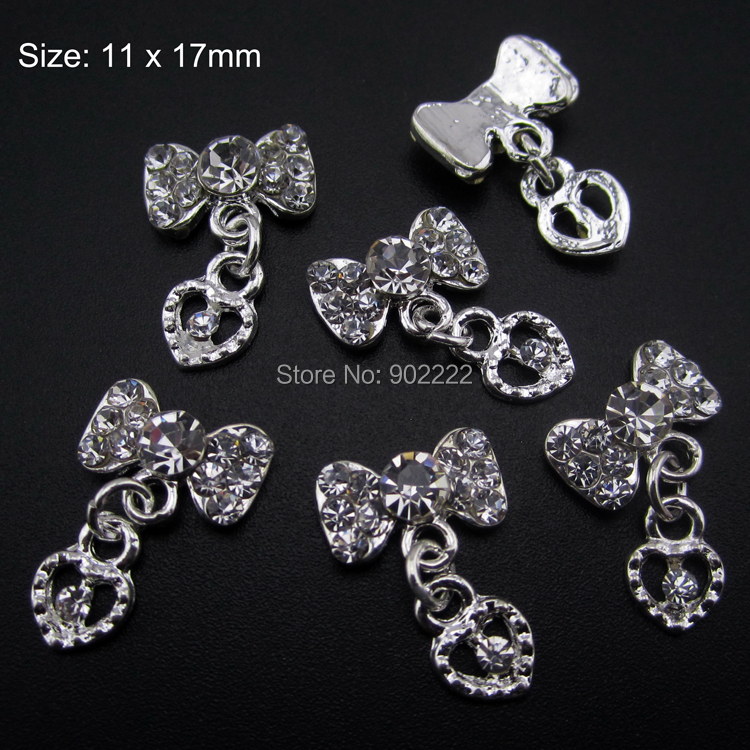 10pcs Glitter 3d nail art bows chain jewelry nails heart pendant strass rhinestones pedrarias para artesanato(China (Mainland))