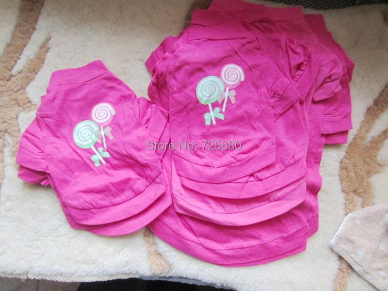 10 PCS/LOT Small Pet Dog CAT PUPPY Clothes T Shirt Vest Type XS S M L rose(China (Mainland))