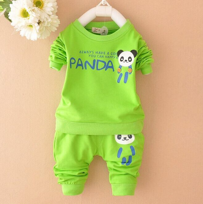 2016 new Boys clothing set kids sports suit children tracksuit girls T shirt pant baby sweatshirt panda character casual clothes(China (Mainland))