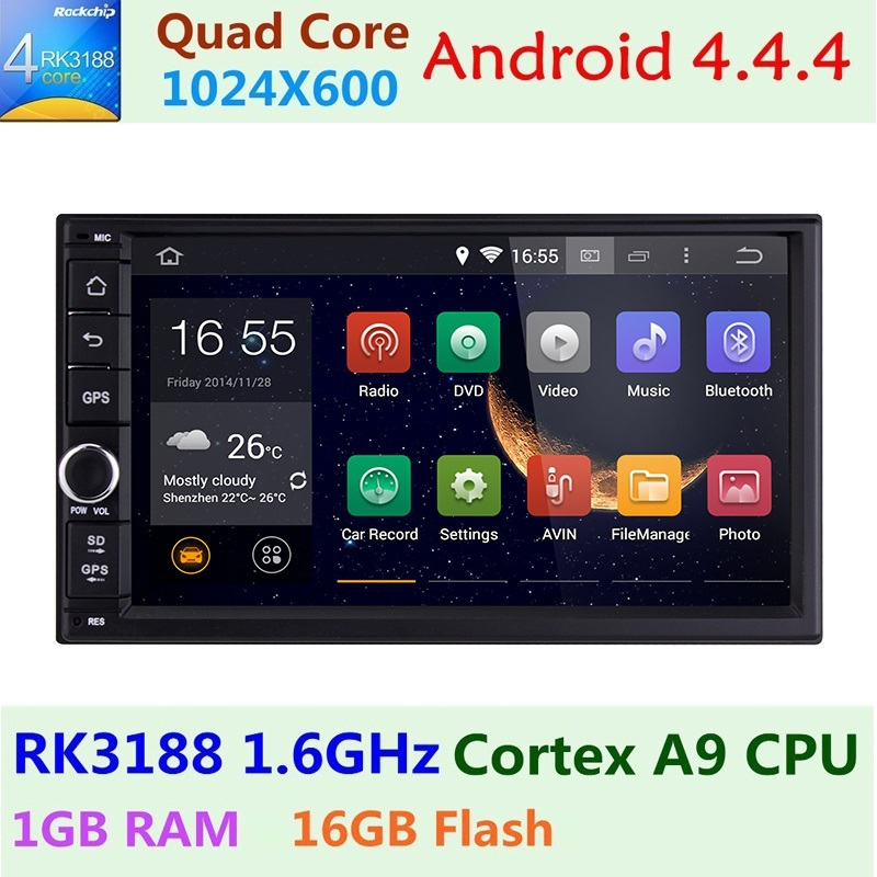 Quad Core 1024*600 Android 4.4.4 kitkat Car Stereo GPS Double 2 din 7 inch Radio Audio Navigation System 16 GB Memory Bluetooth(China (Mainland))