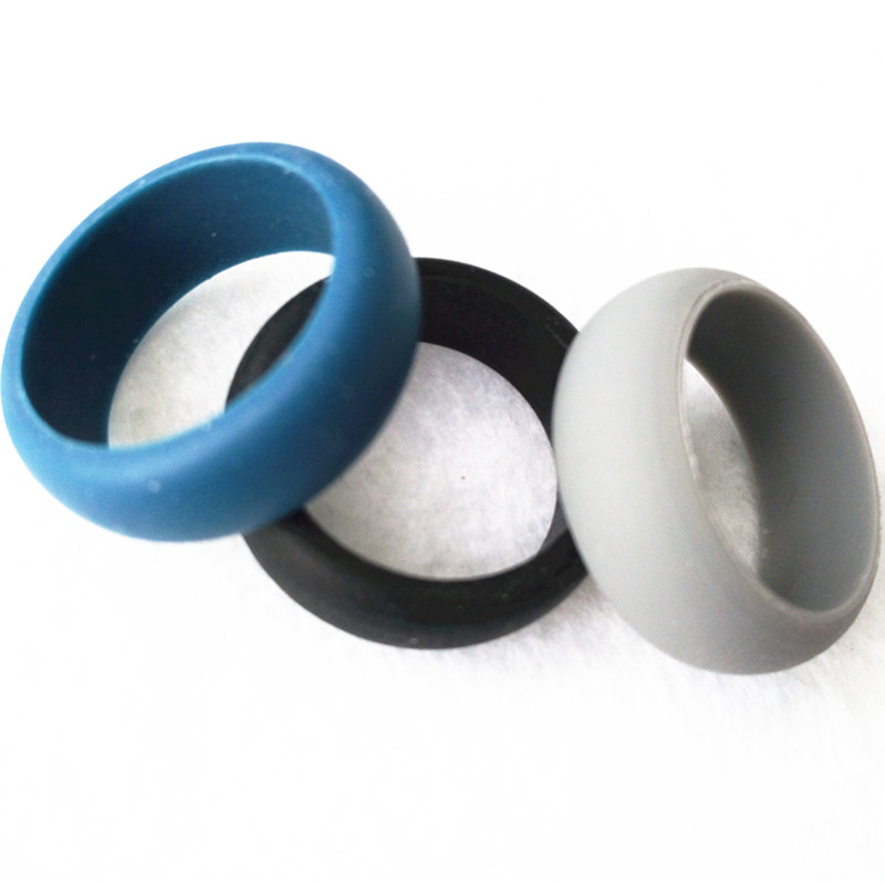 Fashion Women Mens Silicone Wedding Ring Set Black Grey Blue silicone wedding bands Rubber Finger Ring 30pcs(China (Mainland))