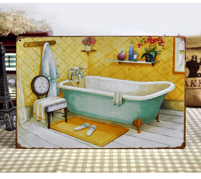 Vintage bathroom signs promotion shop for promotional - Vasche da bagno retro ...
