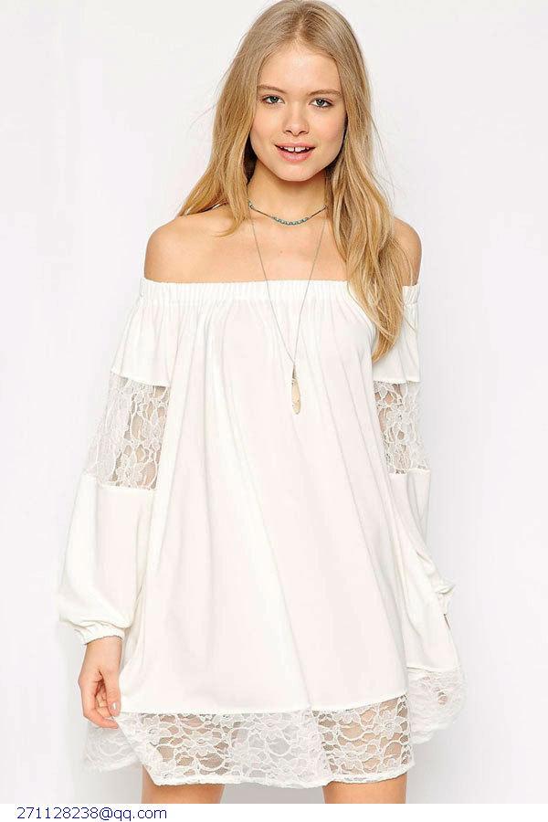 Casual Vestido Corto Mujer Summer 2015 White/Black Sexy Long Sleeve Chiffon Lace Swing Cute Mini Dress Women Clothing LC22012(China (Mainland))