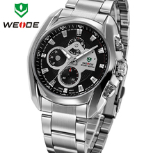 Luxury Brand WEIDE New Mens Quartz Watches Stainless Full Steel Fashion Business Dress Watch Waterproof Analog