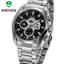 Marca de lujo WEIDE nuevo Mens relojes de cuarzo inoxidable moda de acero completo reloj de vestir de negocios impermeable analógico reloj Casual