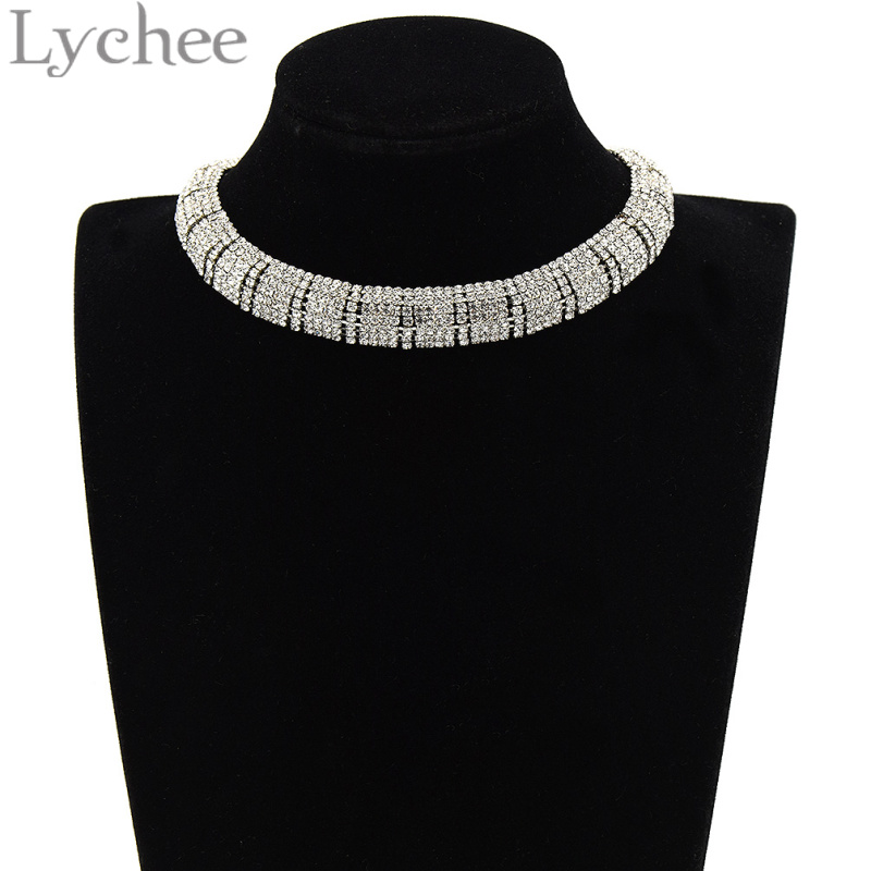 Lychee Bling Bling Crystal Choker Necklace Arch Shape Rhinestone Choker Collar Collette Bride Wedding Party Jewelry Women
