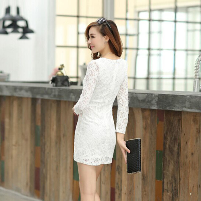 Spring 2015 spring and summer dress new Korean Women OL temperament cultivating long-sleeved lace skirt package hip bottoming auОдежда и ак�е��уары<br><br><br>Aliexpress