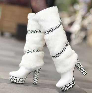 2015 women new fashion autumn winter snow boots leopard print 11.5cm high-leg plus velvet warm fur shoes large plus size 40-42(China (Mainland))