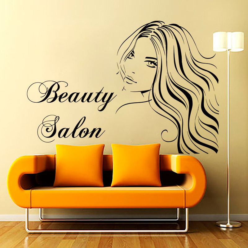 Sexy lady with long hair wall decals beauty salon for Stickers salon