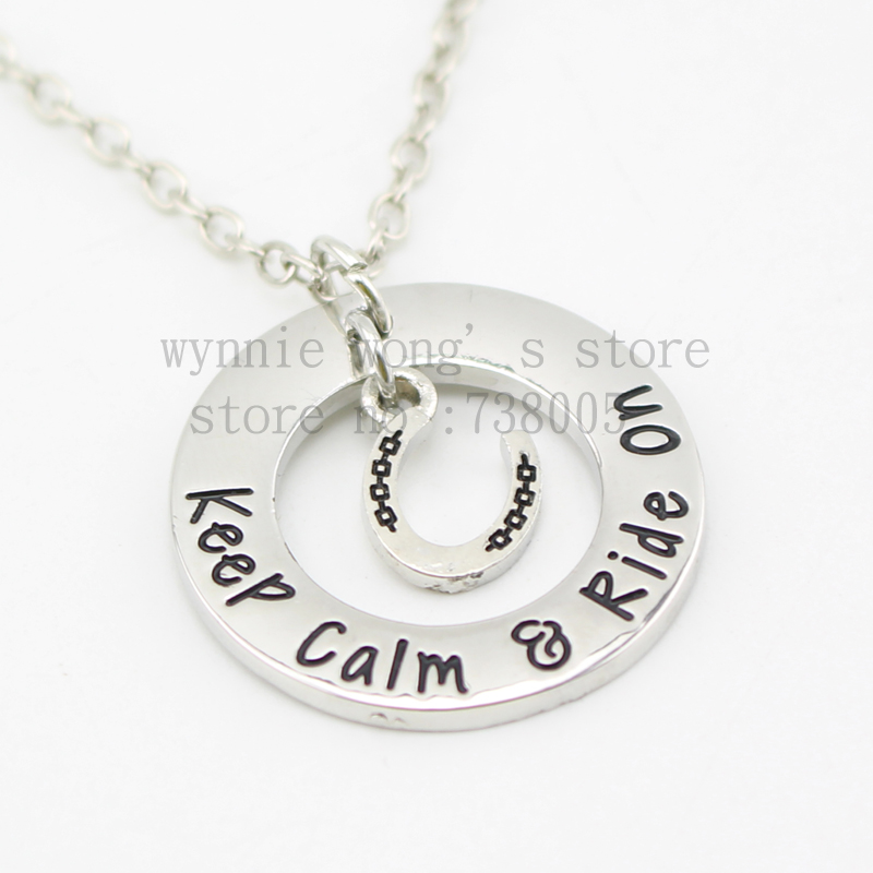 """2015 new arrive Barrel racing Jewelry""""Keep calm ried on'""""Necklace Hand stamped horse lover jewelry horse gift(China (Mainland))"""